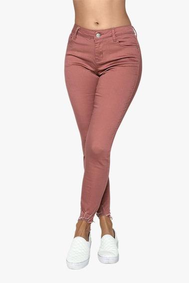 Pantalon De Mujer Rosa Cintura Alta Slim Tobillo Deshilado