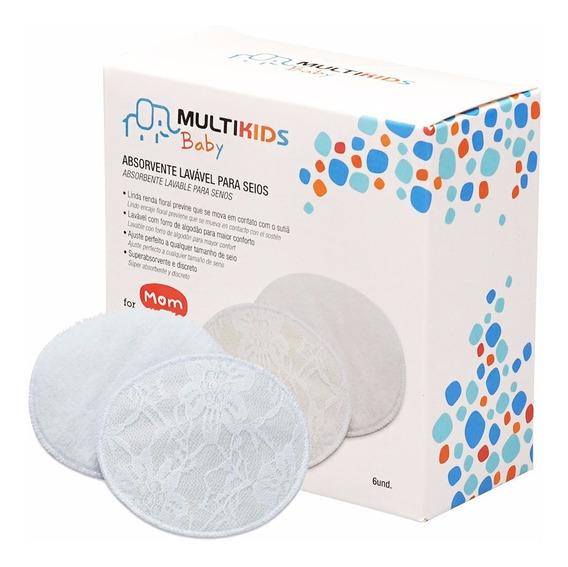 Protetores De Seios Absorventes Laváveis Multikids Com 6 Unidades