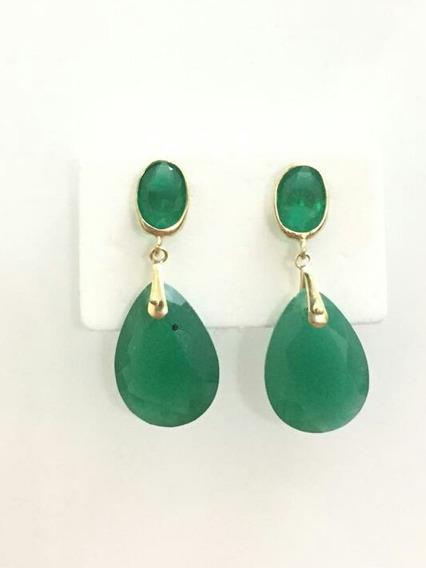 Brinco Em Ouro 18k, 750 Com Pedras Na Cor Verde Jade