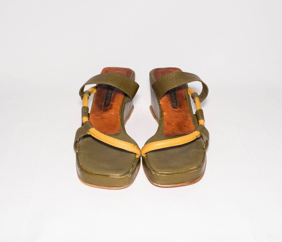 Zapatos Sandalias De Cuero De Mujer