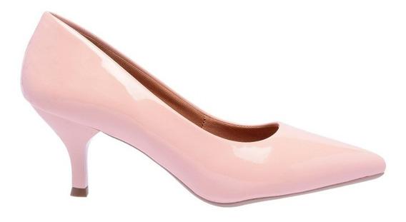 Sapato Feminino Scarpin Salto Baixo Bico Fino Verniz 5 Cm