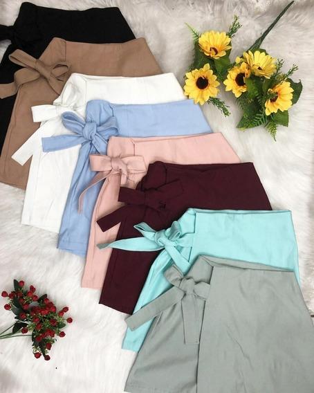 Kit 3 Mini Shorts Saia Feminino Curto De Amarração Modo 2019