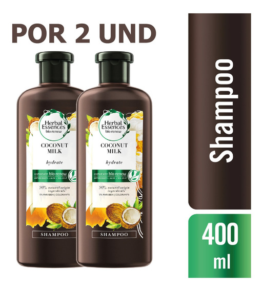 Shampoo Herbal Essences Bio:renew Coconut Milk, 400ml X2 Und