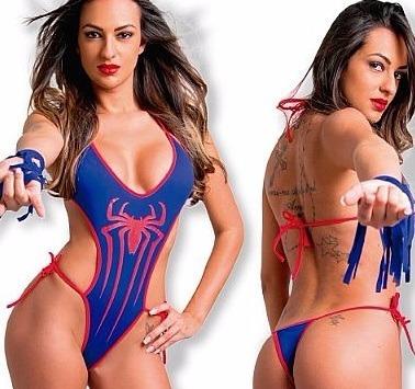 Mini Body Sensual Mulher Aranha Sexy Fácil Prazer