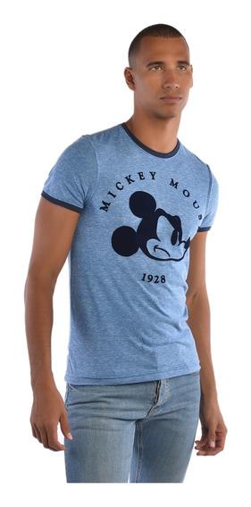 Playera American Level Mickey Mouse Azul Hombre