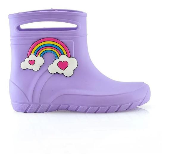 Botas De Lluvia - Violeta Arcoiris Para Niñas Y Nenas