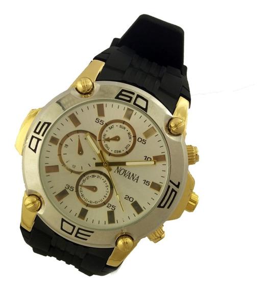 Relógio Masculino Novana Analógico Pulseira Borracha B5730