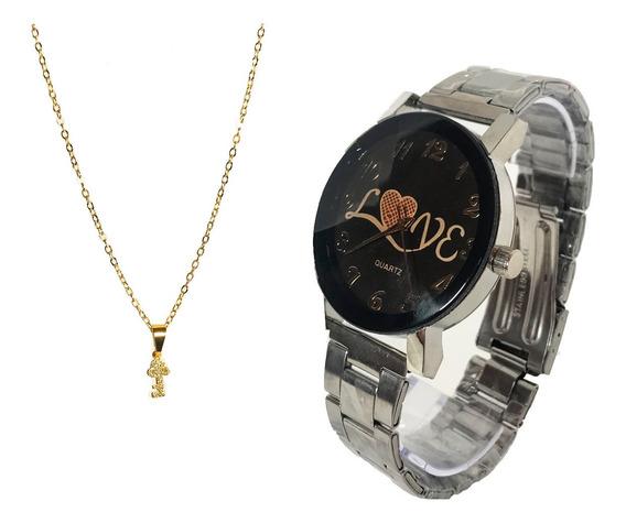 Relógio Prata Feminino + Colar Corrente Folheado A Ouro