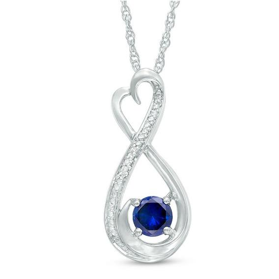 Cadena Y Dije De Plata Zafiro Azul Y Acentos De Diamantes.