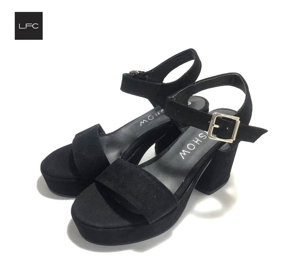 Sandalias De Mujer Taco Bajo Gamuza (sa/1106)