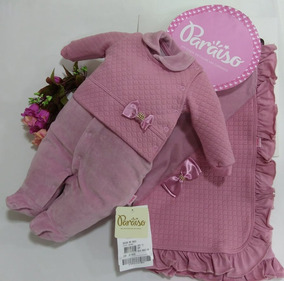 Saida Maternidade Paraiso Bebe Menina Plush Macacao Cod 9663