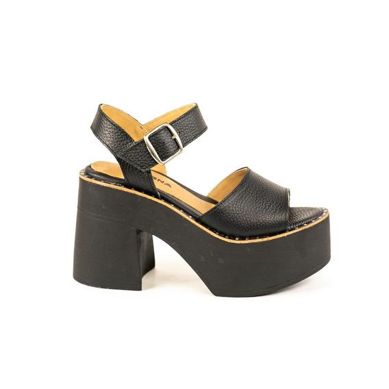 Zapato Lucerna Plataforma Alta Cuero Negro Tira Ancha