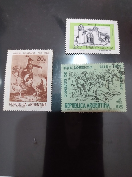 Estampillas 3 Manuel Belgrano ,batalla San Lorenzo,cap Cordo