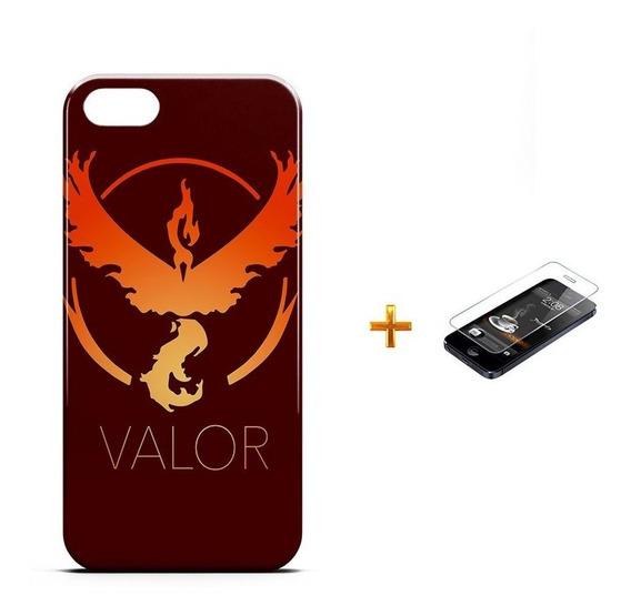 Kit Capa iPhone 5/5s Pokemon Valor Team +pel.vidro Bd1