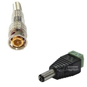 Kit 20 Conector P4 Macho Borne + 20 Bnc Macho Mola Cftv