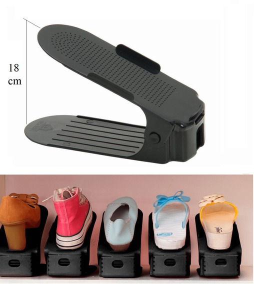 20 Organizadores De Sapato Preto Brilho Com Regulagem Altura