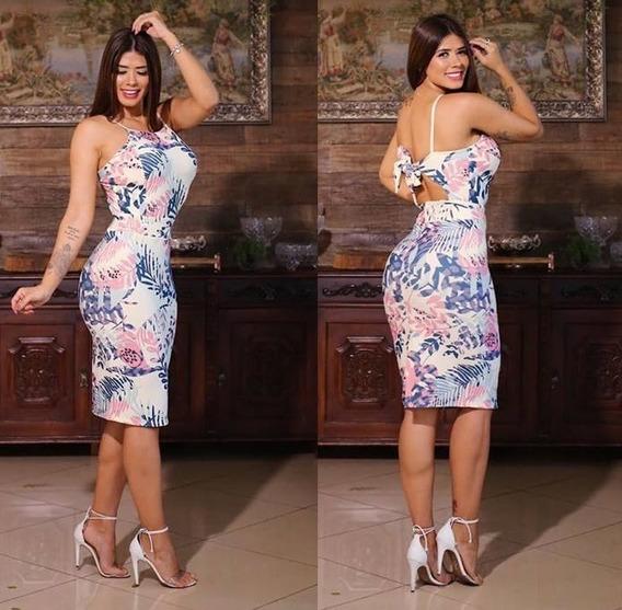 Vestido Midi Longuete Justo Estampado Roupas Femininas M 40