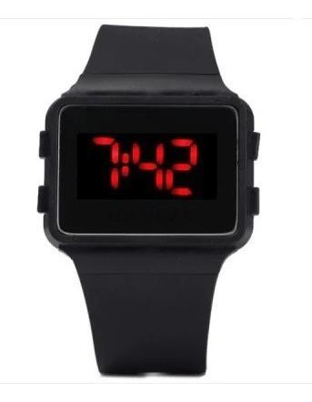 Relógio Digital Infantil Led Pulseira De Silicone Preto