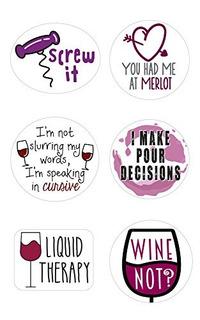 Marcadores De Vidrio De Vino | Set De 12 Adhesivos Estáticos