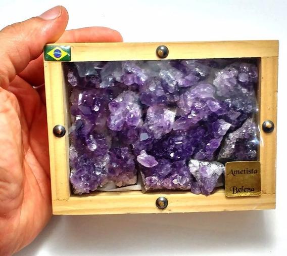 Caixa Com Coleção Ametistas Drusas Pedras Naturais Qualidade