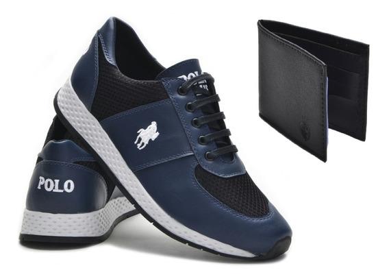 Kit Tênis Esportivo Jogging Polo Plus + Carteira Lançamento!