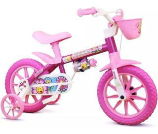 Bicicleta Aro 12 Infantil Menina Nathor Flower 2 A 5 Anos