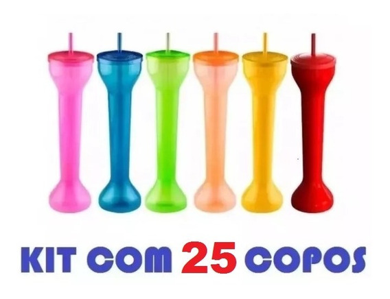 Kit 25 Copos Spring Break Metro Yard Cup Festa Grande 700ml