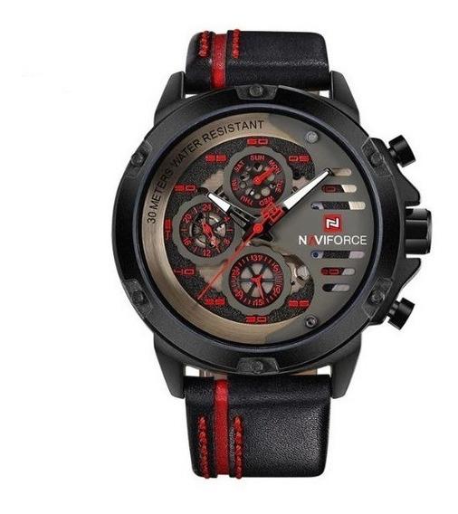Reloj Naviforce Deportivo Original Nf 9110 Negro Rojo