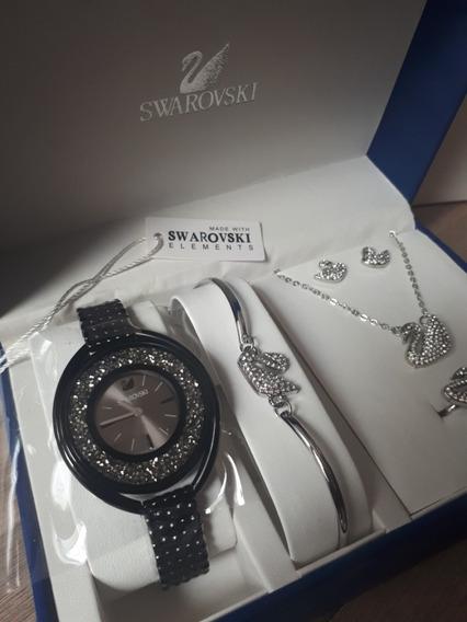 Relógio Swa Crystalline Preto + Box 05 Peças Na Caixa !!!