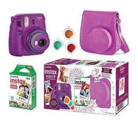 Kit Câmera Fujifilm Instax Mini 9 Roxo + Bolsa + 10 Poses