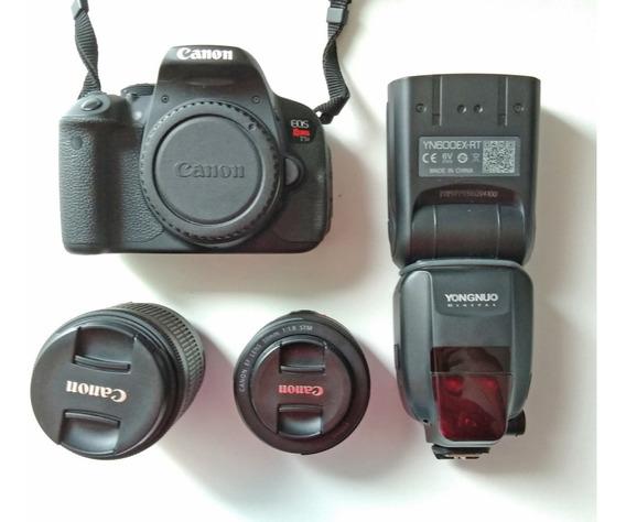Canon T5i + 2 Lentes + Flash + Mochila