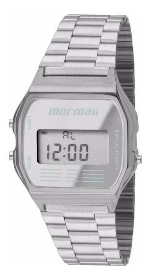 Relógio Mormaii Unissex Digital Prata Aço Quadrado Mojh02aa/3c Original