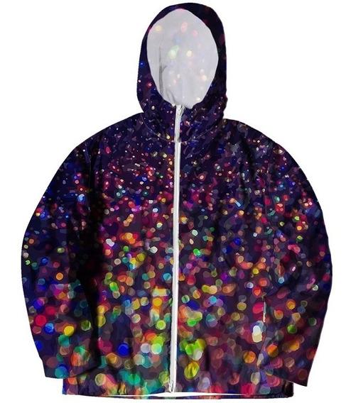 Jaqueta Corta Vento Psicodélico Glitter Brilhante Galactic