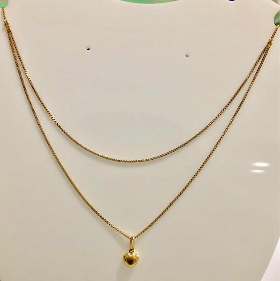 Corrente Veneziana Feminina Com Pingente Coração Em Ouro 18k