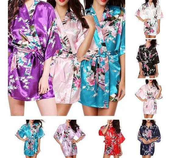 Bata Boda Kimono Satin Seda Levantadora