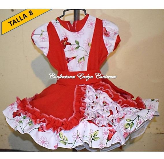 Vestido Vestidos Huasa China Cueca T/ 8 As