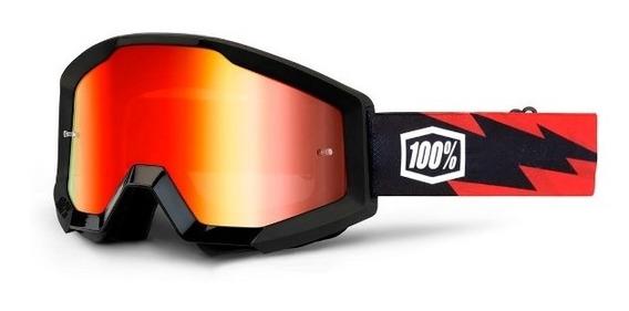 Antiparras 100% Espejadas Strata Slash Negras Motocross Atv
