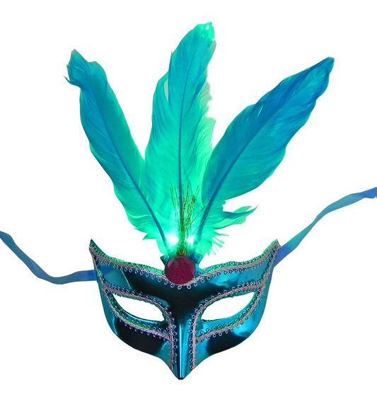 Antifaz Mascara Veneciano Luminoso Plumas Fiestas Carnaval