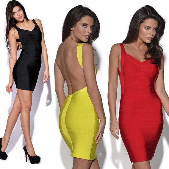 Sexy Bandage Dress Mini Bodycon Backless Yellow Red Black Pl