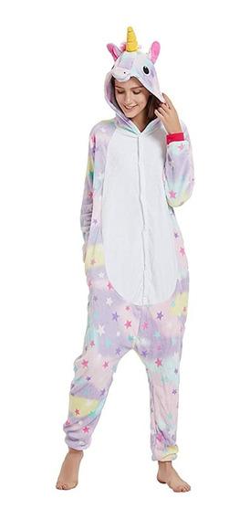 Piijama Mameluco Kigurumi Unicornio Disfraz Lila Rosa Adulto,tela Suave Y Satinada 7058