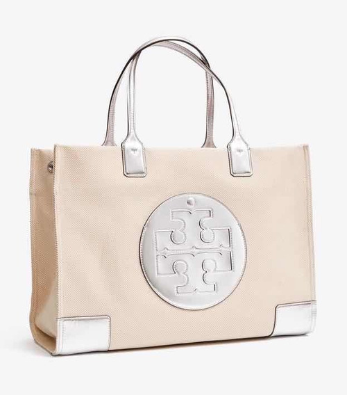 Bolsa Tory Burch 100% Original Ella Grande Canvas Metallic