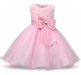 Vestido Infantil Festa Princesa Daminha Laço Frozen + Brinde