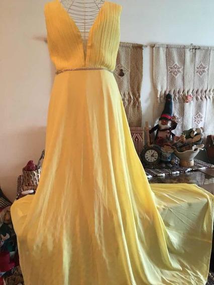 Vestido Largo Gasa Strass Amarillo Importado España
