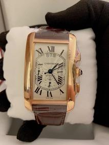 Cartier Tank American De Ouro Rosa Xl Chrono , Completo!!!