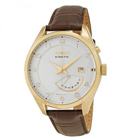 Relógio Seiko Classic Kinetic Marrom/branco/dourado Couro