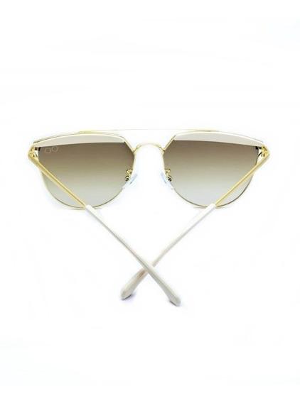 Oculos Solar De Sol Feminino Branco Dourado Proteçao Moda