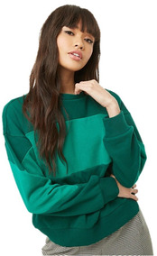 Sudadera Pullover Contraste Verde Mujer Moda Forever 21 L/ G