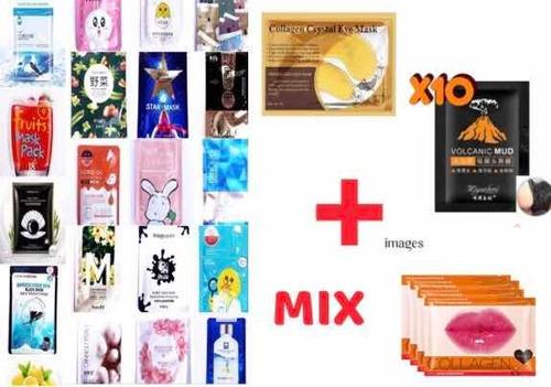 Imagen 1 de 10 de Mascarillas Pack Mixto 50 Pieza Cara Ojos Labios Nariz Punto