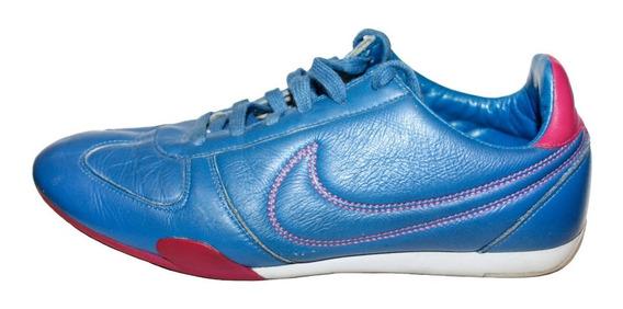 Tenis Casual Nike Azul Rosa 24 Cm Piel