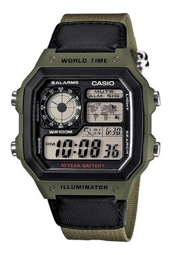 Reloj Casio Ae-1200whb-3bv Resistente Agua 100m Pila10 Años